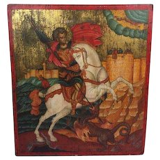 Very large icon Joris and the dragon - Greece - 19th century