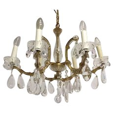 Italian chandelier with crystal pegs and Murano glass arms - 6 light points - Italy - Approx. 1910
