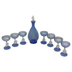 Bimini cocktail 'Mermaid' glasses (7 pieces) and a decanter with stop - Ca. 1920