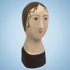 A molded and painted papier mache marotte head - France - 1870/1880