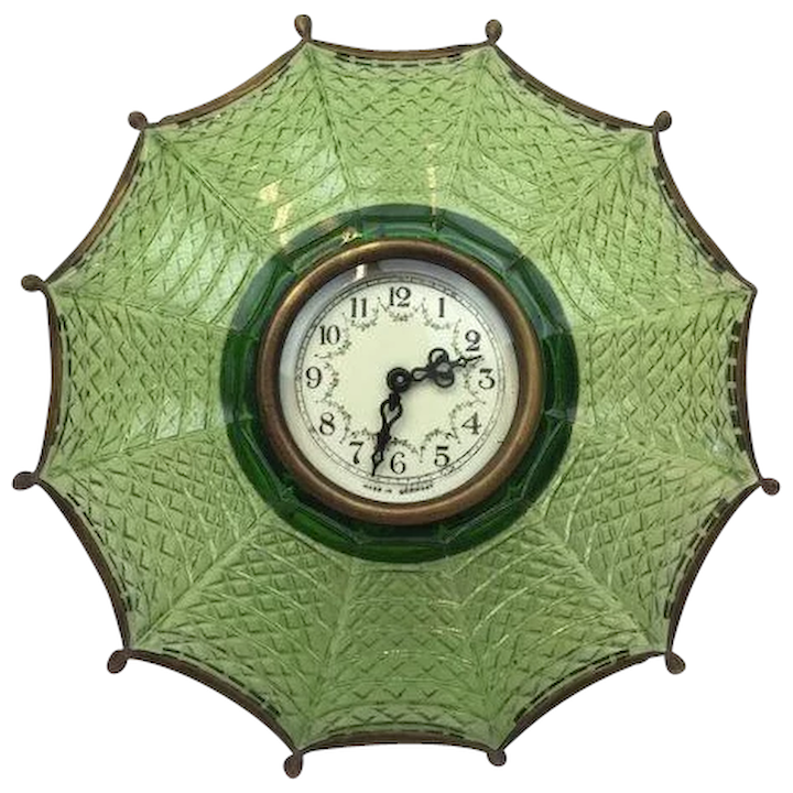 Umbrella Desk Clock Made Of Brass And Glass Germany First Half 20th Century