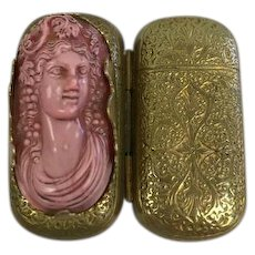 Gold plated pillbox in exceptional model - France - Approx. 1920