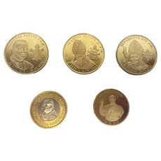 "5x 24 carat gold plated coins of the pope ""Statvs Vaticanvs"""