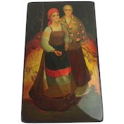 Original Russian lacquer box - signed and hand-painted - 1992