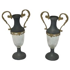 Two tin fireplace vases / ornamental vases with glass in Empire style - France - Ca. 1920