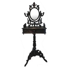 Black Forest (Black Forest) dressing table with mirror and candlesticks - Germany - Ca. 1890