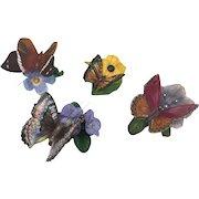 Franklin Mint - Four porcelain butterflies - Ca. 1980