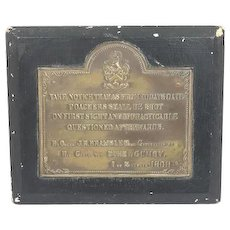 """Authentic iron warning sign on wooden panel """"Poachers shall be shot"""" - Approx. 1870"""