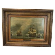 Nautical painting after Willem van de Velde - The four-day sea battle - in list