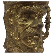 Heavy bronzed metal beer mug - Zeeman with pipe in his mouth - 20th century
