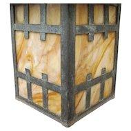 Antique Arts & Crafts Lantern and Mount  f1198