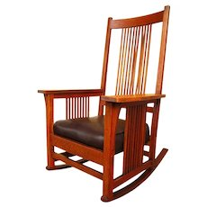 Antique Gustav Stickley Spindled Rocking Chair  f368