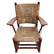 Superb Antique Old Hickory Arm Rocking Chair  f373
