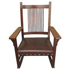 Antique L&jG Stickley Spindled Rocking Chair f6420