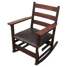Antique Gustav Stickley Arm Rocking Chair   f6515