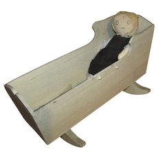 Antique Doll Rocking Crib with Doll  f7051