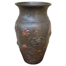 Vintage Japanese Bronze Vase f8191