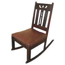 Antique Arts & Crafts Rocking Chair  f9444