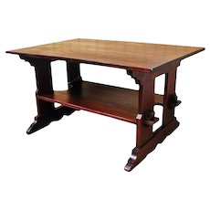 Antique L&jG Stickley Trestle Table f9565