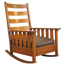 Antique Gustav Stickley Slatted Rocking Chair   f9771