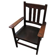 Antique Stickley Brothers Armchair with Plank Seat  f9996