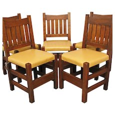 Antique Arts & Crafts Set of Five V-Back Chairs  ff629