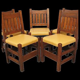 Antique Arts & Crafts Set of Five V-Back Chairs  ff629