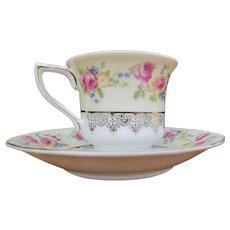 Antique Gold Castle Porcelain 2 Piece Cup and Plate Set  i794