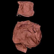 Vintage Set of Brown Leather Seat Cushion and Back Cushion  le23