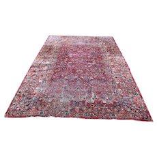 Vintage Red Sarouk Handmade Oriental Rug  r9419