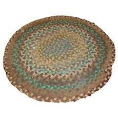 American Folk Art Braided Circular Rug rr1336