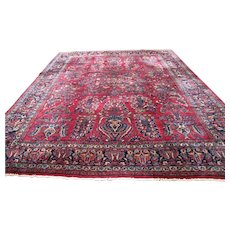 Superb Antique Handmade Maharajan Sarouk Oriental Rug  rr2667