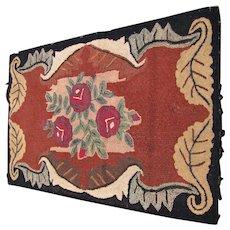 SUPERB Antique American Folk Art Hooked Rug   rr2699