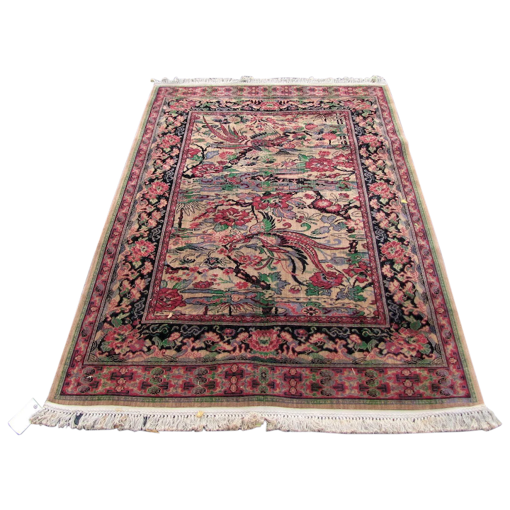 Superb Antique Wilton Birds Of Paradise Rug Rr3377