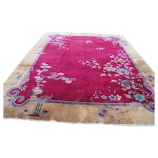 Superb Antique Handmade Chinese Deco Rug  rr3490