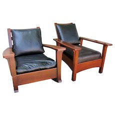 Superb Antique Pair of Limbert Rocking Chair & Morris Chair  w1158 w2589
