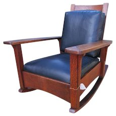 Superb Antique Limbert Large Arm Morris Rocking Chair  w1188