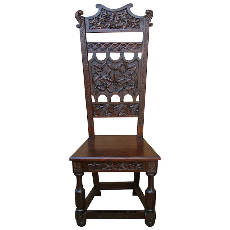 Antique Arts & Crafts Carved Hall Chair w1240 - Antique Arts & Crafts Carved Hall Chair W1240 : Antique Mission