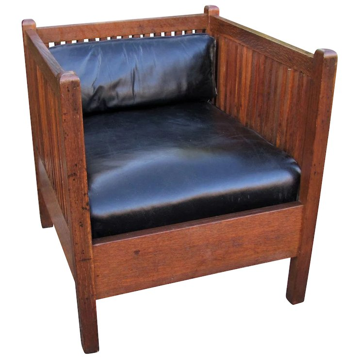 Superb Antique Gustav Stickley Cube Chair with Spindles w1248 - Superb Antique Gustav Stickley Cube Chair With Spindles W1248