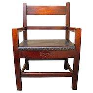 Superb Large Antique Roycroft Arm Chair Mission Arts And Crafts  w1299
