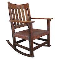Antique Gustav Stickley V Back Arm Rocking Chair  w13