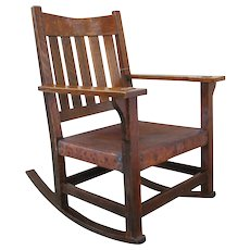 Antique Gustav Stickley V Back Arm Rocking Chair  w13