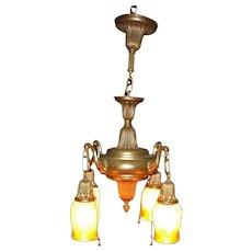Antique Quezal Light Fixture  w1307