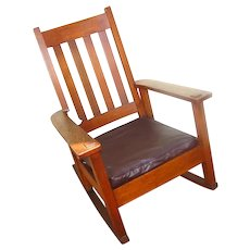 Antique Stickley Brothers High Back Arm Rocking Chair  w1483