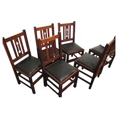 Antique Set of 6 Limbert Dining Chairs with Cutouts w1689