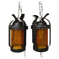 Antique Arts & Crafts Pair of Lanterns w1754