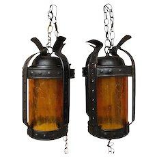 Antique Arts & Crafts Pair of Lanterns w1754