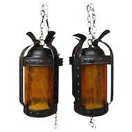 Arts & Crafts Pair of Lanterns w1754