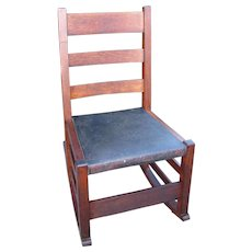Antique Arts & Crafts Sewing Rocking Chair  w1894