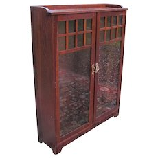 Antique Arts & Crafts Lifetime Two Door Bookcase  w1935